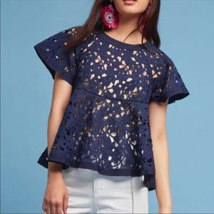 Anthropologie Navy Eri + Ali Remy Floral Swing Top